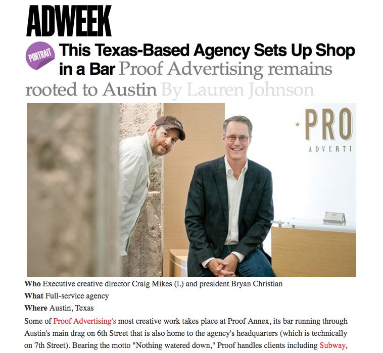 AdWeek Profiles Proof And Seems To Like Our Bar